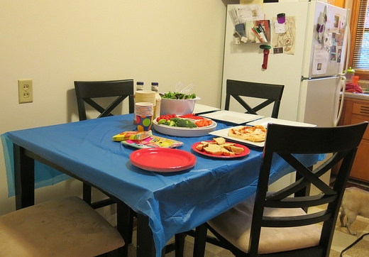 presenting food together in the family kitchen